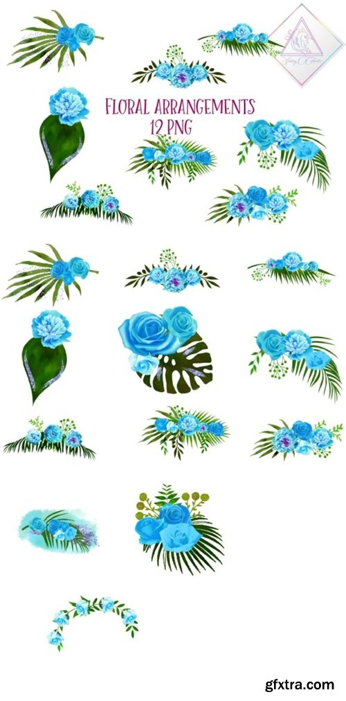 Blue Floral Arrangements 1508631