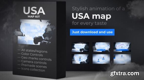VideoHive USA Map:  United States of America with States 23986214