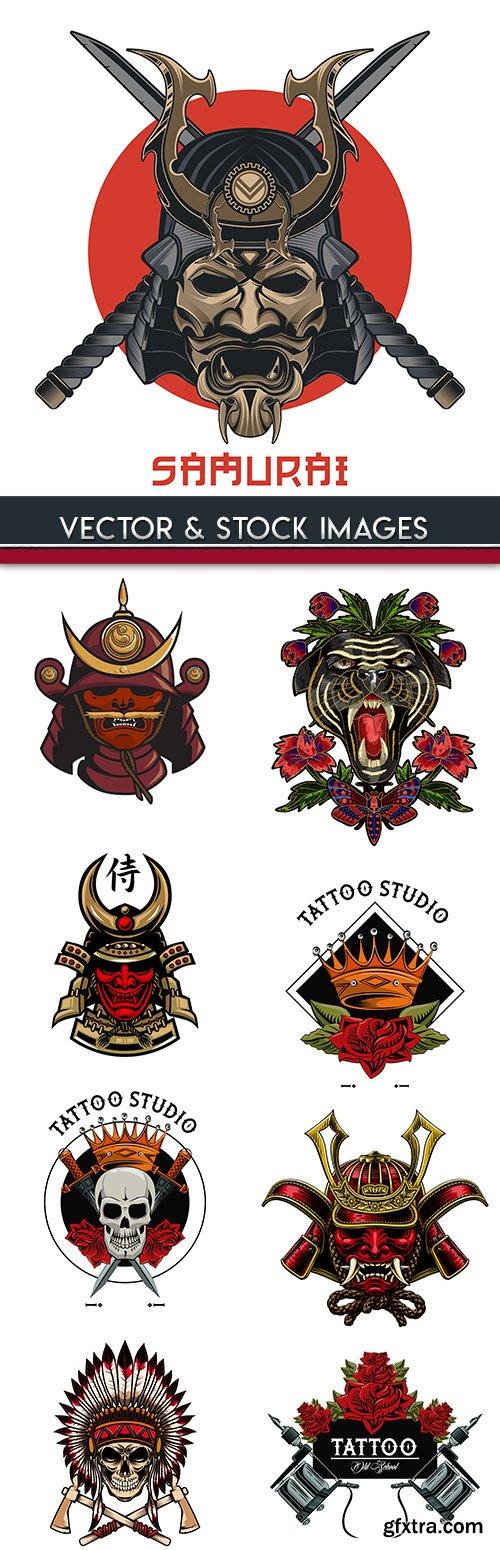 Samurai and skull vintage design tattoo