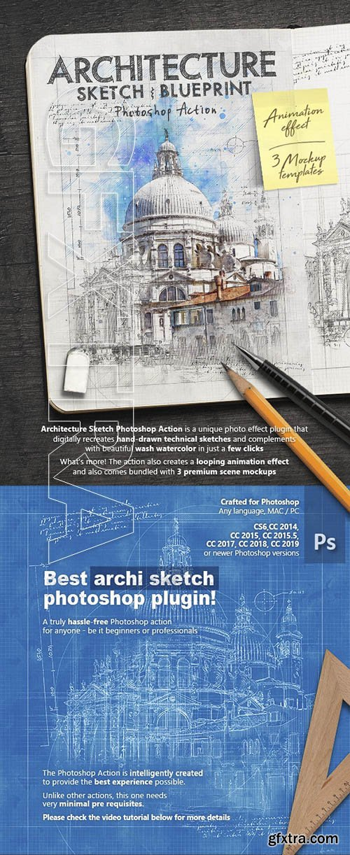 GraphicRiver - Animated Architecture Sketch and Blueprint Photoshop Action 23954628