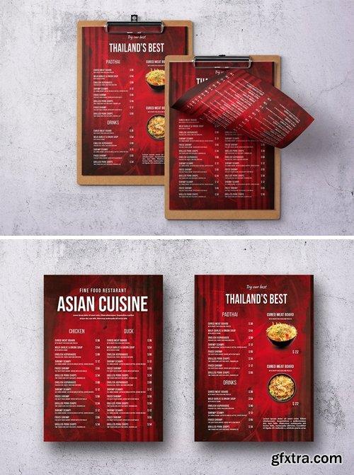 Asian Single Page A4 & US Letter Food Menu V2