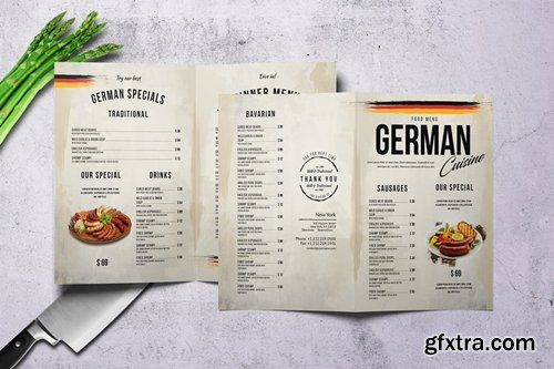 German Cuisine A4 & US Letter Bifold Menu