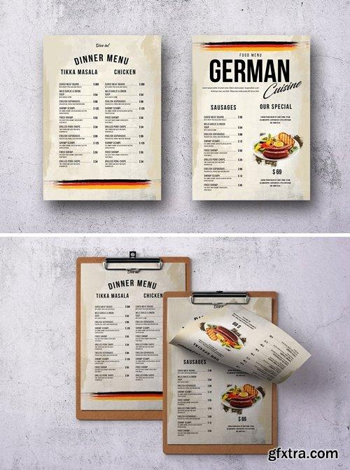 German Cuisine A4 & US Letter Single Page Menu