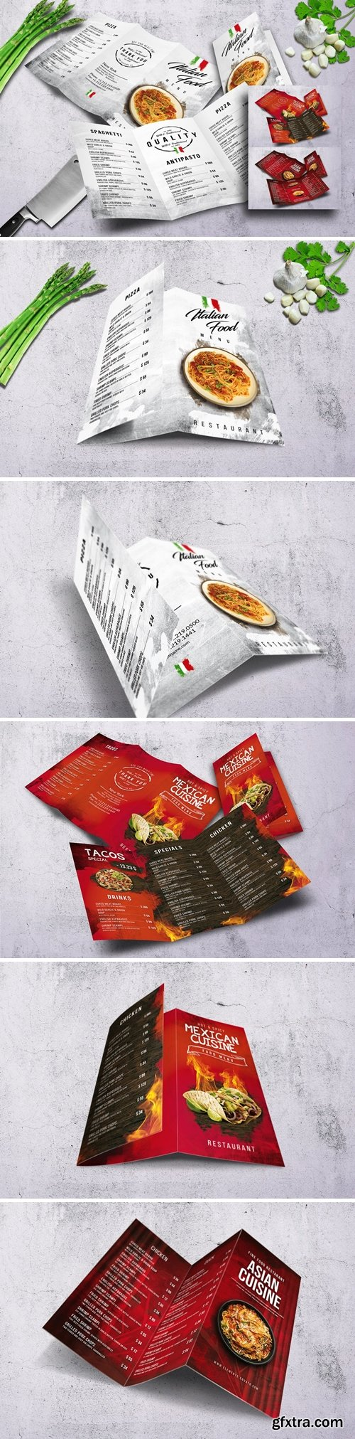 Different Cuisines Trifold Menu Bundle