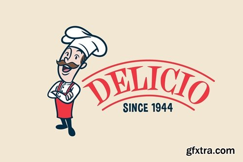 Retro Vintage Cartoon Chef or Cook Mascot Logo