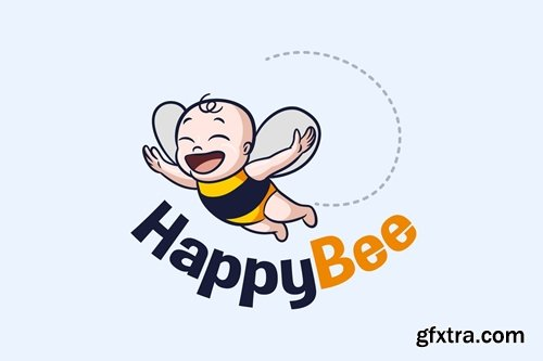 Baby Bee - Happy Flying Baby Bee Mascot Logo