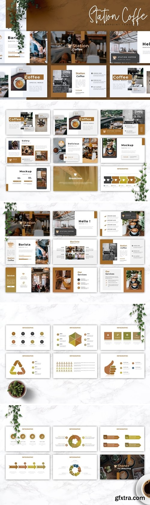 STATION COFFEE - Coffee Shop Powerpoint Google Slides and Keynote Templates