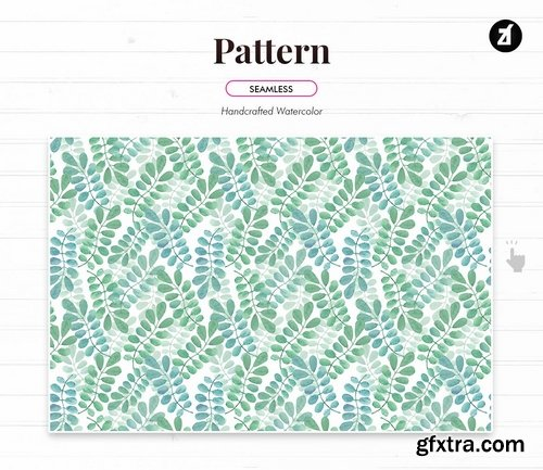 Leaves pattern handdrawn watercolor illustration