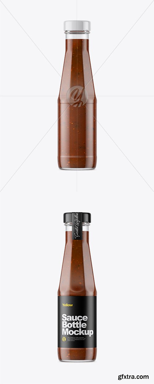 Clear Glass Bottle with BBQ Sauce Mockup 33373