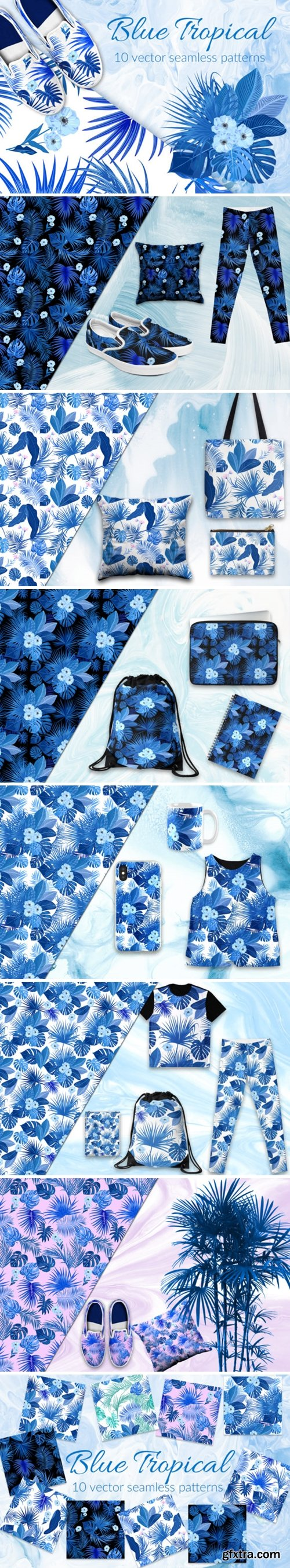 Blue Tropical Vector Seamless Pattern 1516163