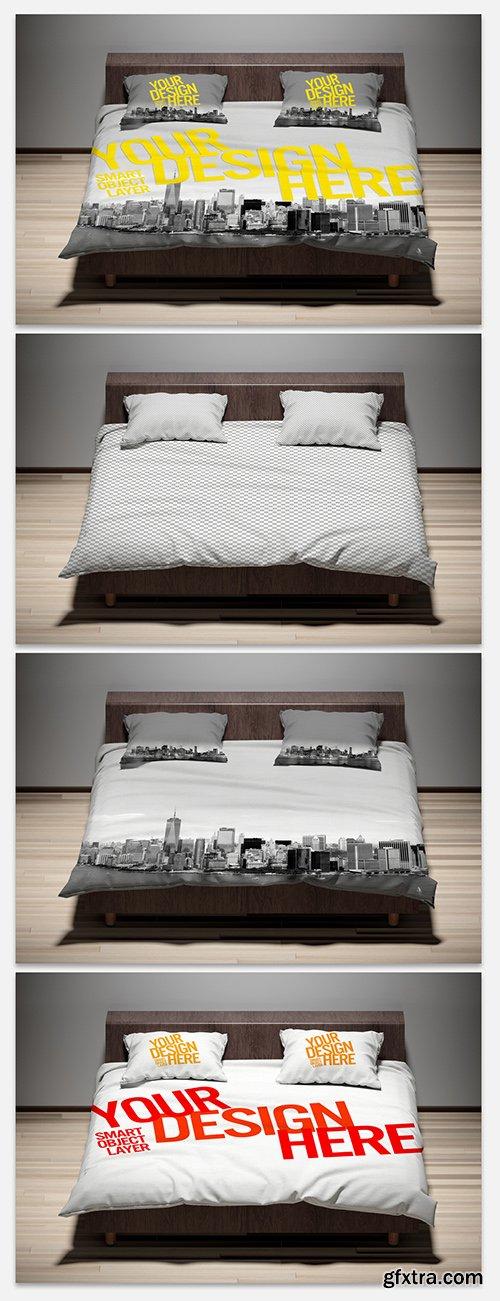 Pillows and Comforter Mockup 273935804