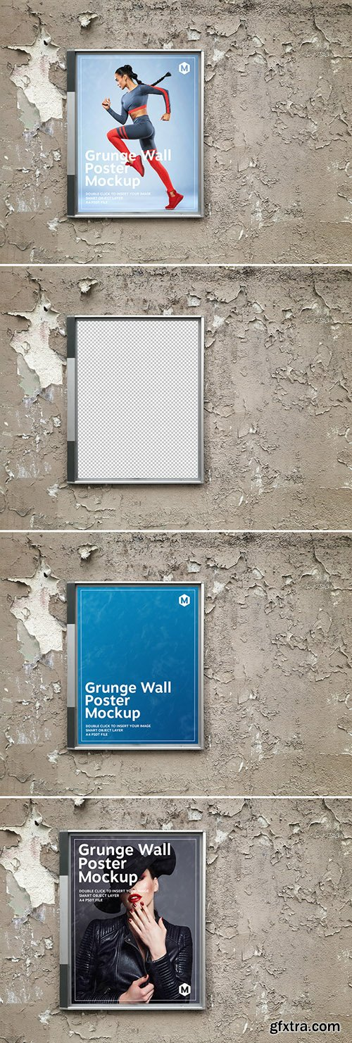 Billboard Poster on a Grunge Textured Wall Mockup 274306002