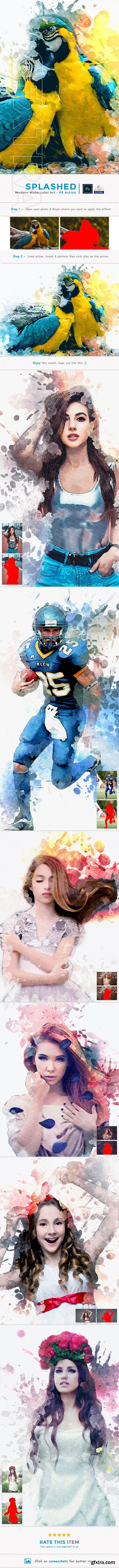 GraphicRiver - Splashed - Modern Watercolor Art PS Action 23961517