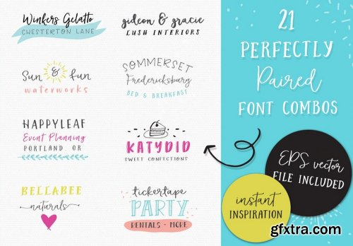 MightyDeals Glorious Font Bundle 21 Fonts, 60 Patterns, 200 Doodles