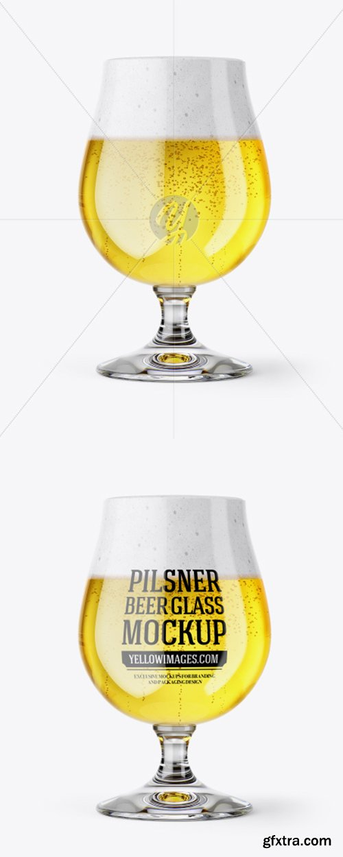 Tulip Glass With Pilsner Ale Mockup 43360