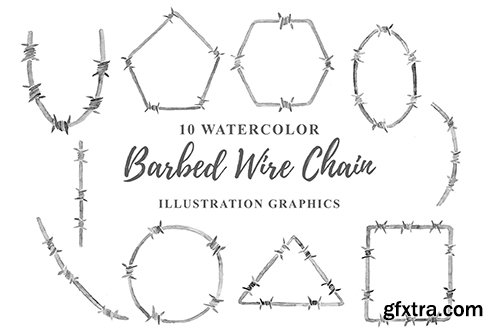 10 Watercolor Barbed Wire Chain Illustration