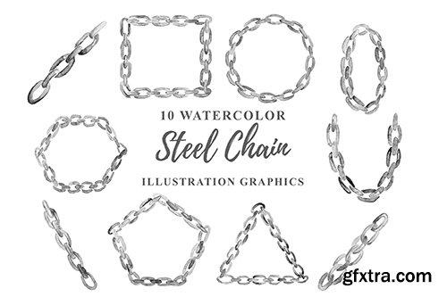 10 Watercolor Steel Chain Illustration Graphics