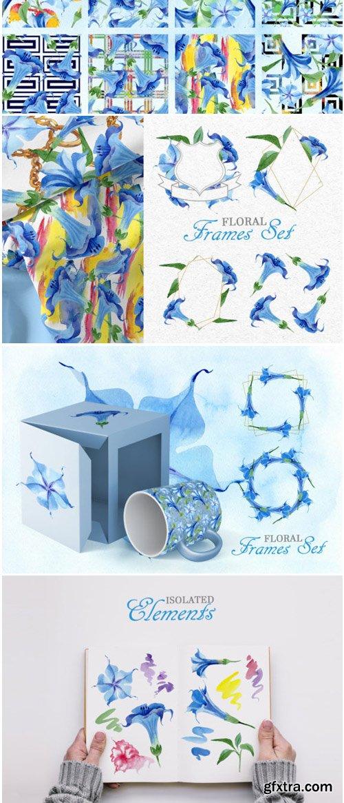 Blue Brugmansia Watercolor Png 1530157