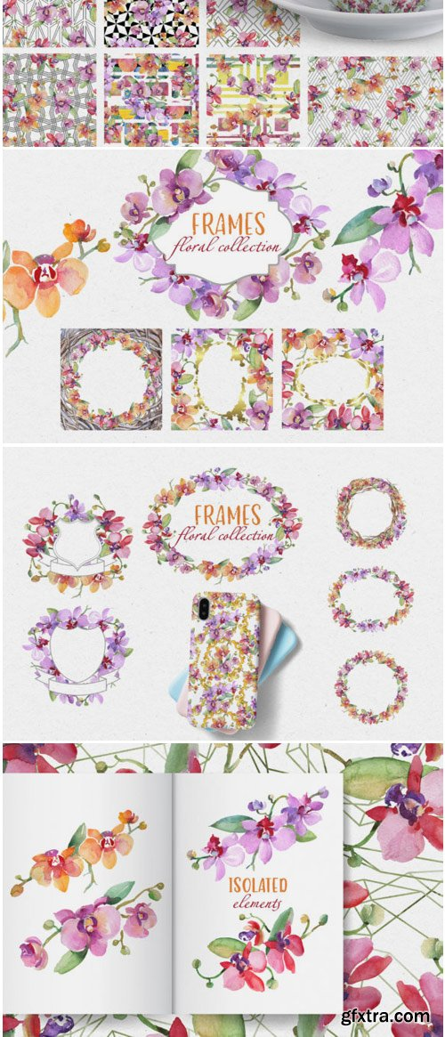 Bouquet with Gentle Orchids Watercolor Png 1530156