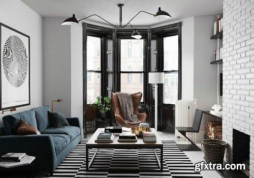 Mix Style Apartment Interior Scene