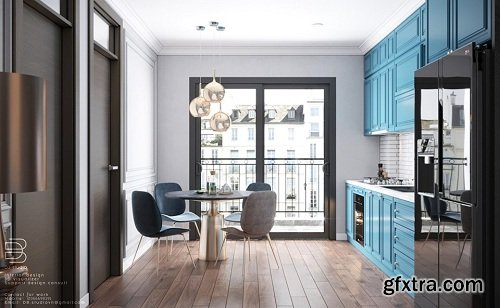 Kitchen – Dining Room Interior Scene