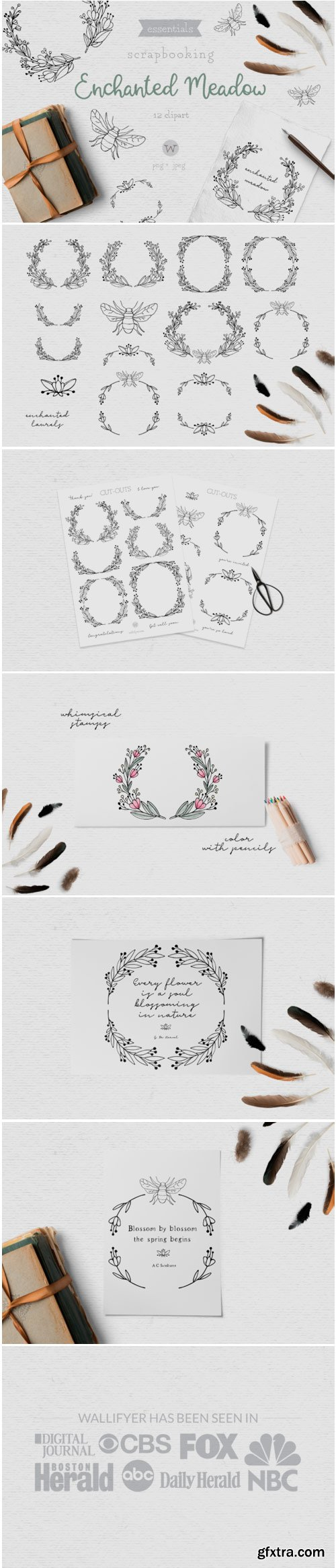 Doodle Flower Clipart and Digital Stamps 1531244