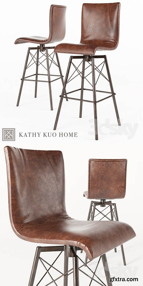 Crenshaw Industrial Loft Iron Leather Bar Stool