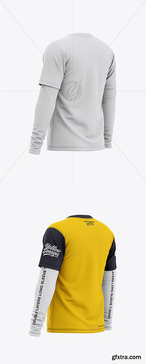 Men's Double-Layer Long Sleeve Knit T-Shirt Mockup - Back Half Side View 36499