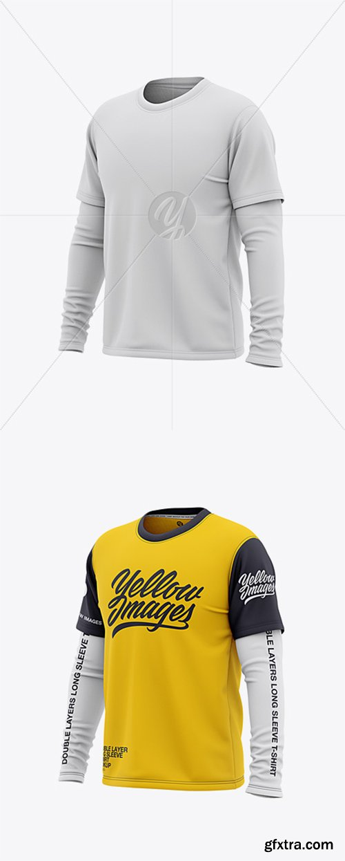 Men's Double-Layer Long Sleeve Knit T-Shirt Mockup - Front Half Side View 36470