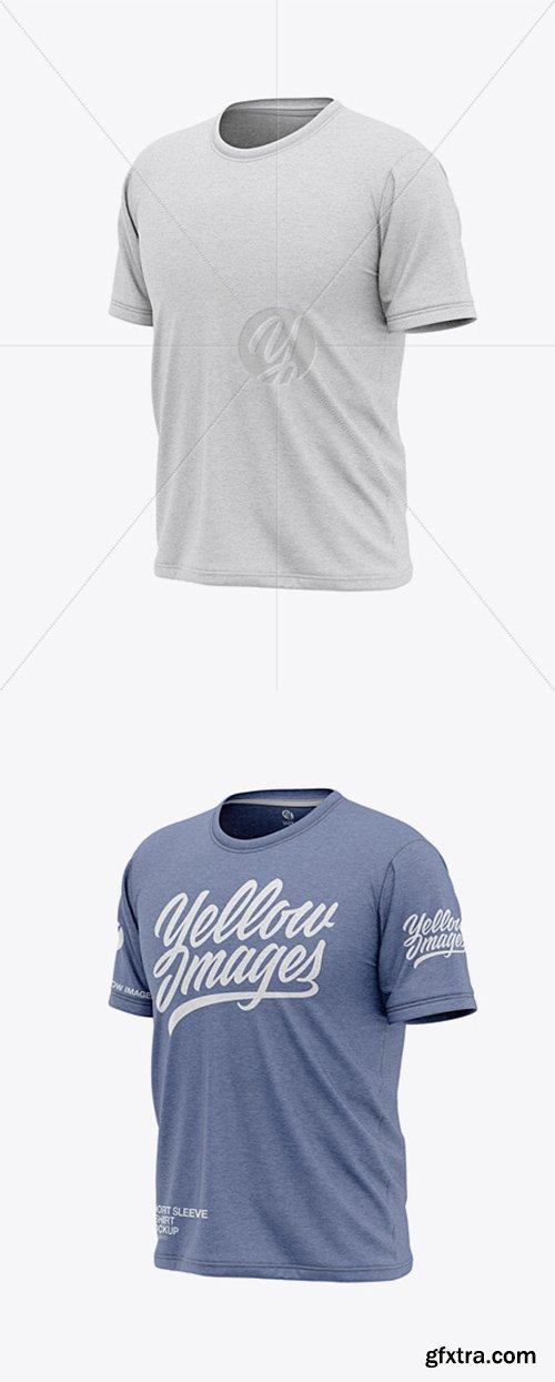 Men's Heather Short Sleeve T-Shirt Mockup - Front Half Side View 36777