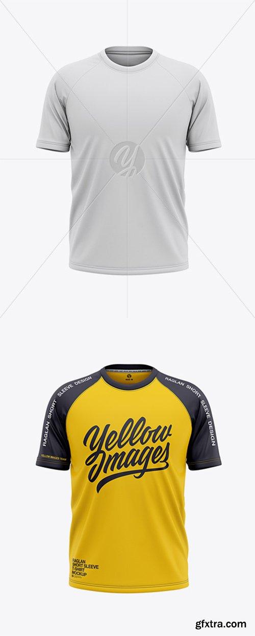 Men's Raglan Short Sleeve T-Shirt Mockup - Front View 37058