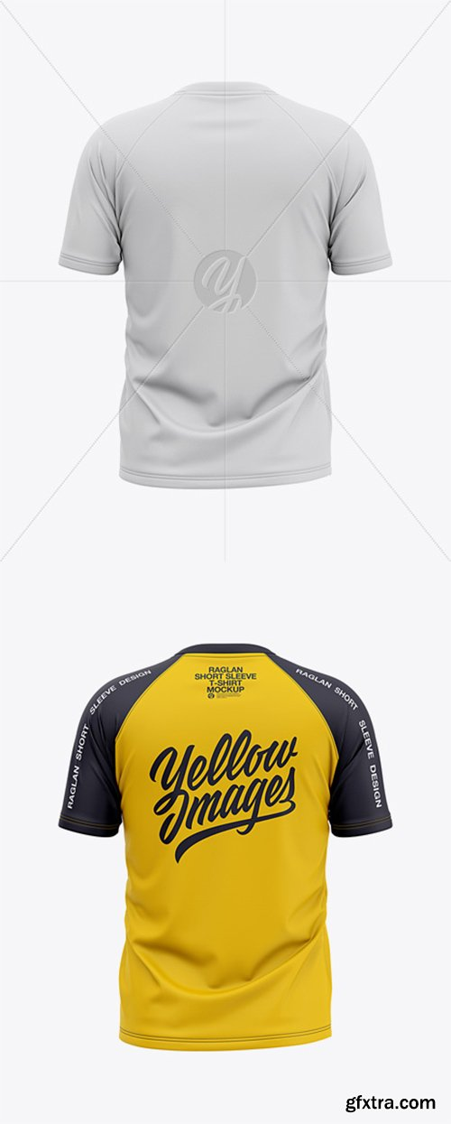 Men's Raglan Short Sleeve T-Shirt Mockup - Back View 37063