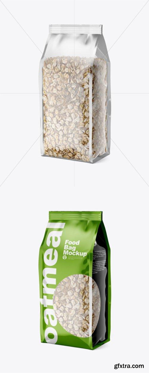 Food Bag w/ Oatmeal Mockup 38271