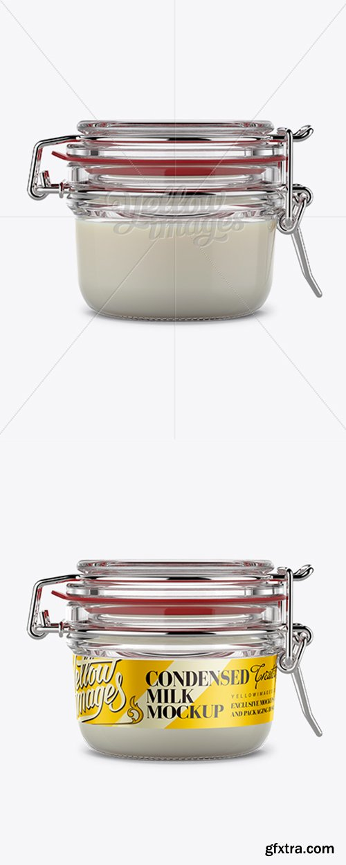 Round Glass Jar with Clamp Lid Mockup 11475
