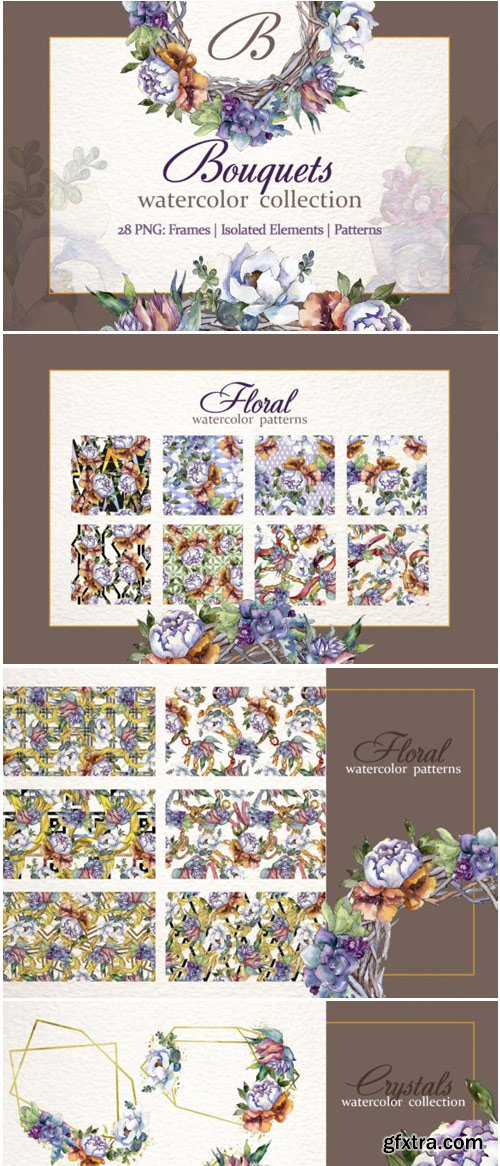 Bouquet Blooming Meadow Watercolor Png 1536708