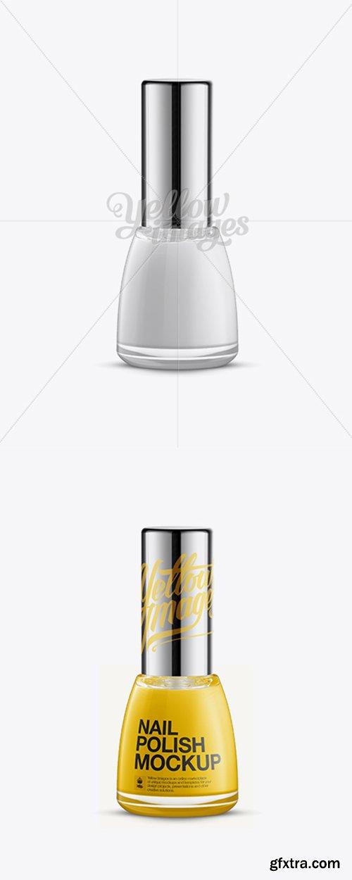 Glossy Nail Polish Bottle w/ Chrome Cap Mockup 11603