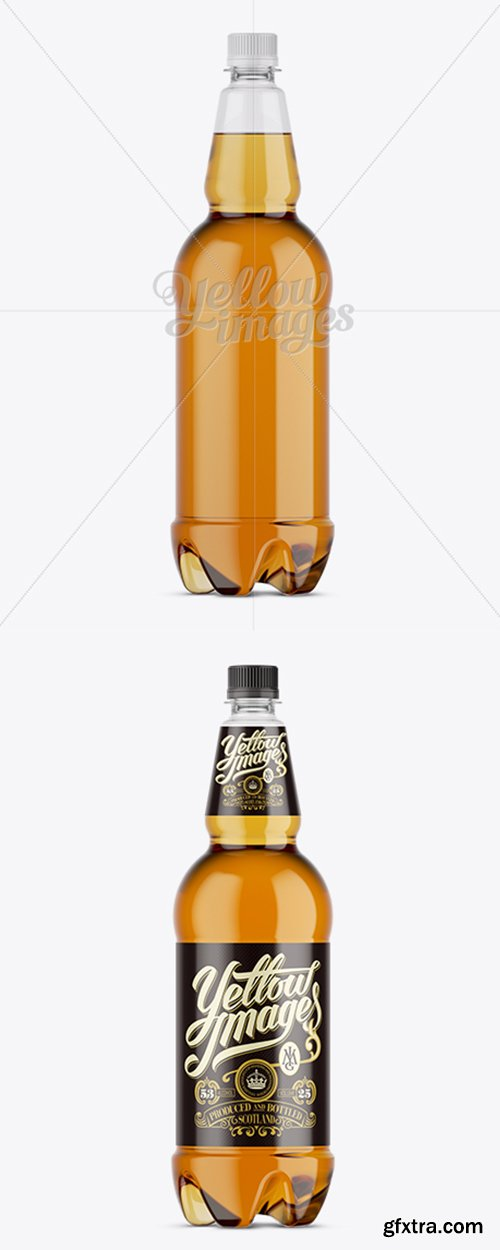 Clear Plastic Gold Beer Bottle Mockup 11638