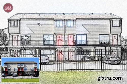 CreativeMarket - Architecture Art Sketch Photoshop Action 3177347