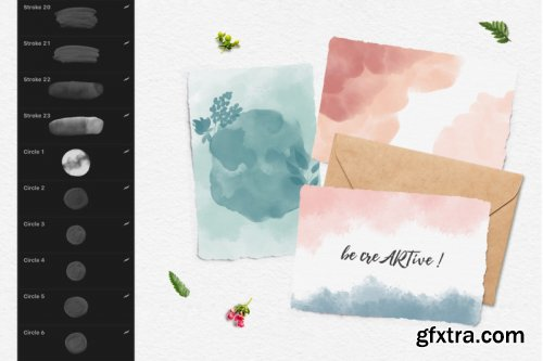 CreativeMarket - 244 Watercolor Brushes For Procreate 3851051