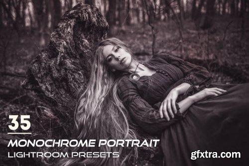 CreativeMarket - 35 Monochrome Portrait Lightroom Presets 3844398