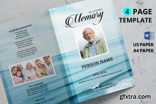 Sea beach funeral program template