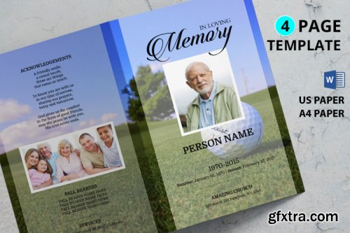 Golf funeral program template
