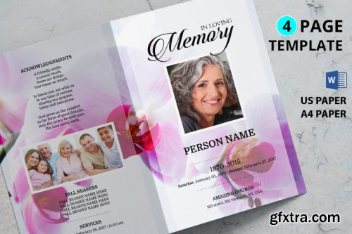 Pink flower funeral program template