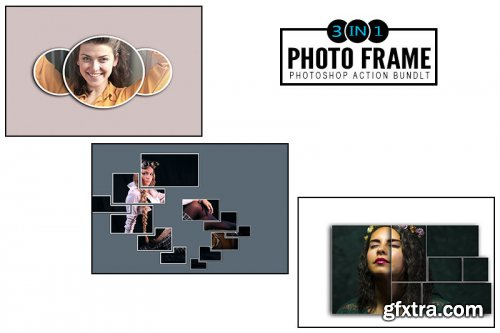 3 IN 1 Photo Frame Photoshop Actions Bundle