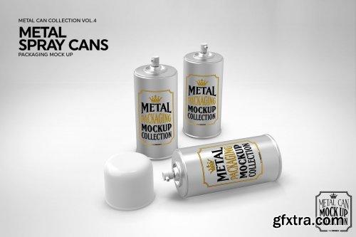 CreativeMarket - Metal Spray Cans Packaging Mockup 3884310