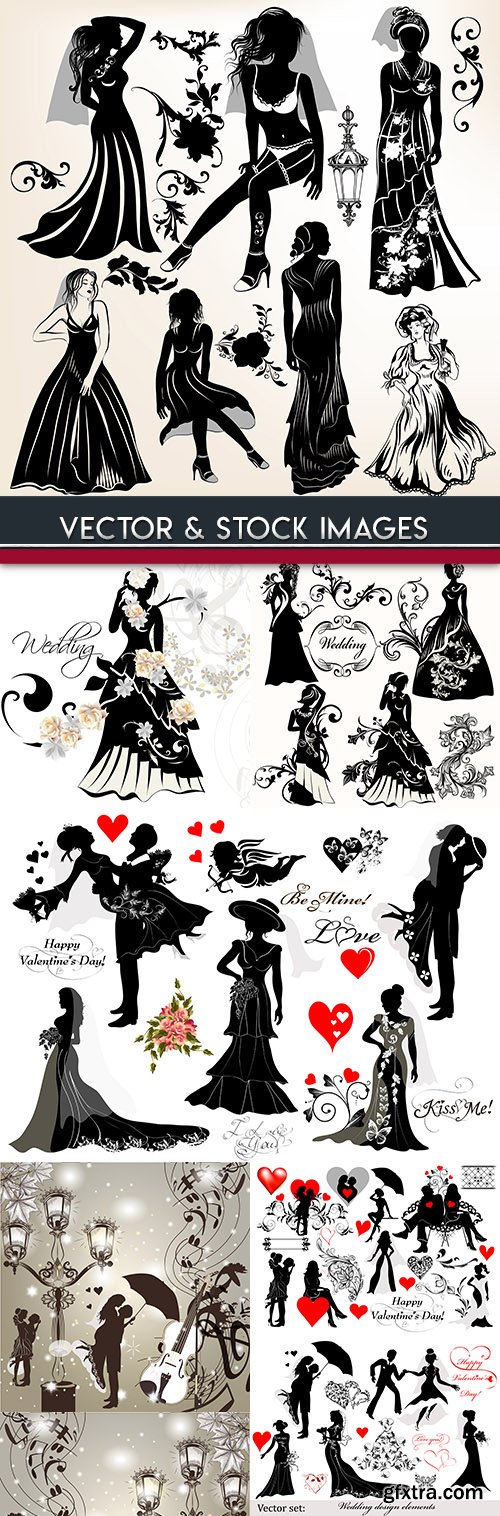 Collection wedding silhouettes and elements design