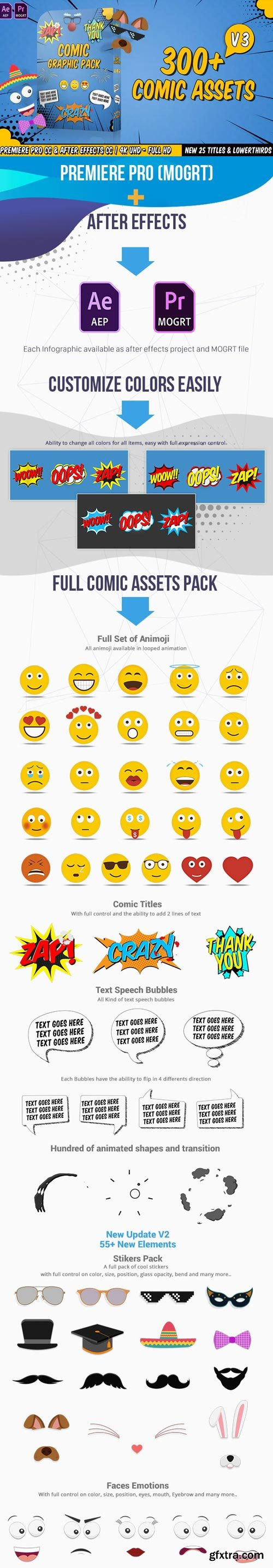 Videohive - Comic Titles - Speech Bubbles - Emoji - Stickers - Flash FX Graphic Pack V.3 - 22645319
