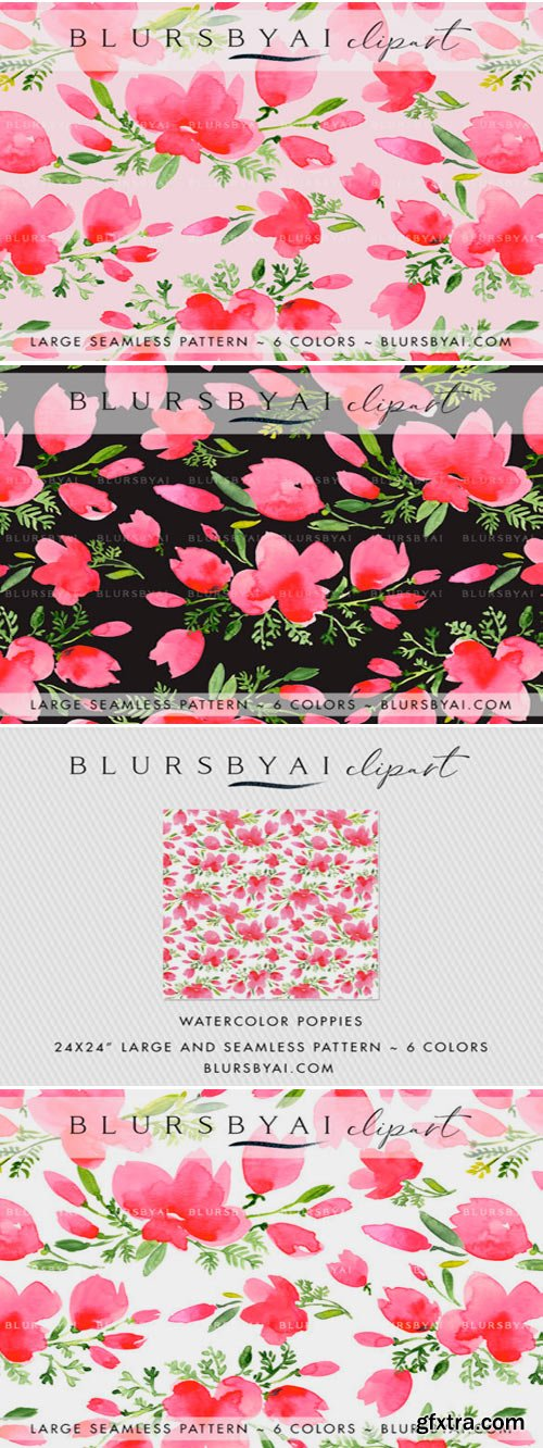 Pink Watercolor Poppies Patterns 1558194