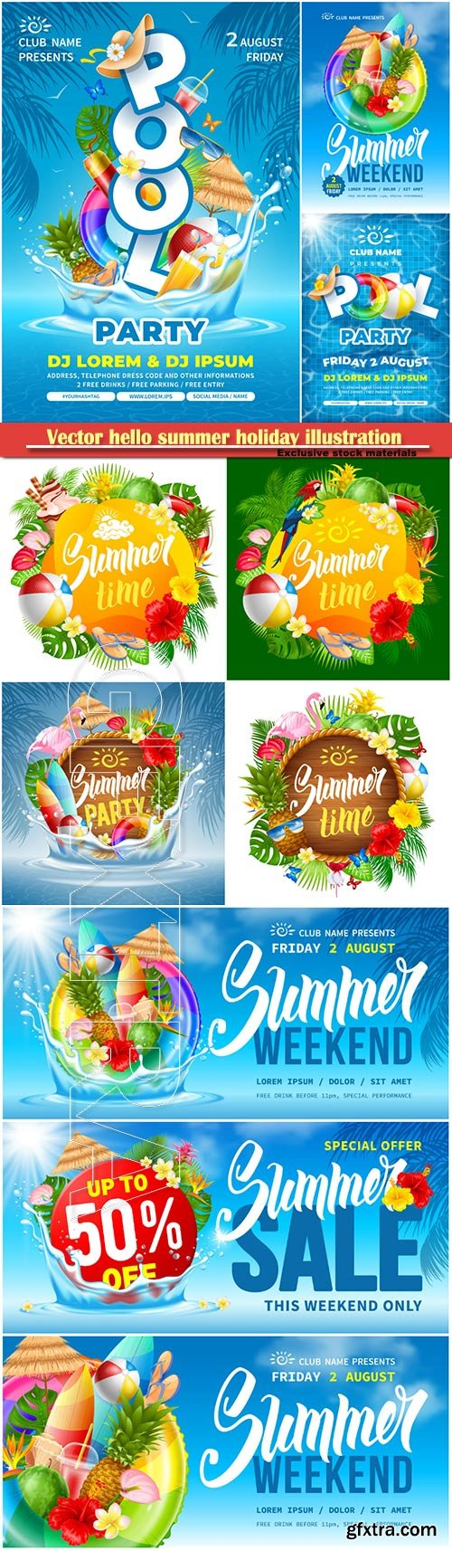 Vector hello summer holiday illustration # 6