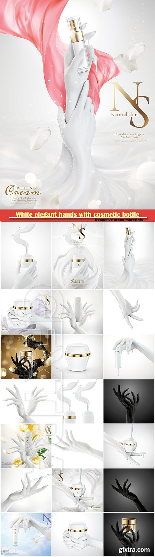 White elegant hands with cosmetic bottle in 3d illustration